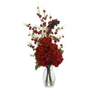 Hydrangea, Cherry Blossom and Rose Arrangement