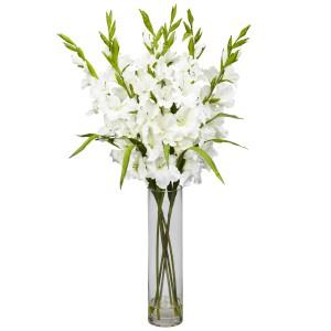 Large Gladiola w/Cylinder Vase Silk Arrangement