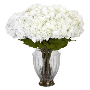 Large Hydrangea w/European Vase Silk Flower Arrangement