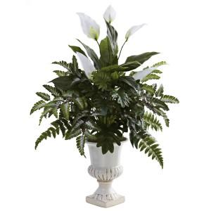 Mixed Greens & Spathyfillum w/Decorative Urn