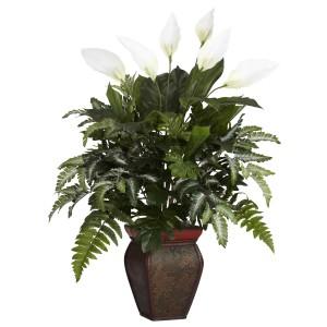Mixed Greens & Spathyfillum w/Decorative Vase Silk Plant