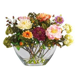 Mixed Peony w/Glass Vase