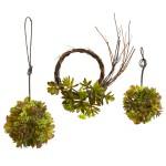 Mixed Succulent Wreath & Balls (Set of 3)