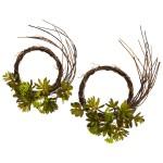 Mixed Succulent Wreath (Set of 2)