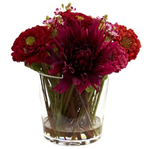 Mixed Zinnia Arrangement w/Decorative Glass Vase