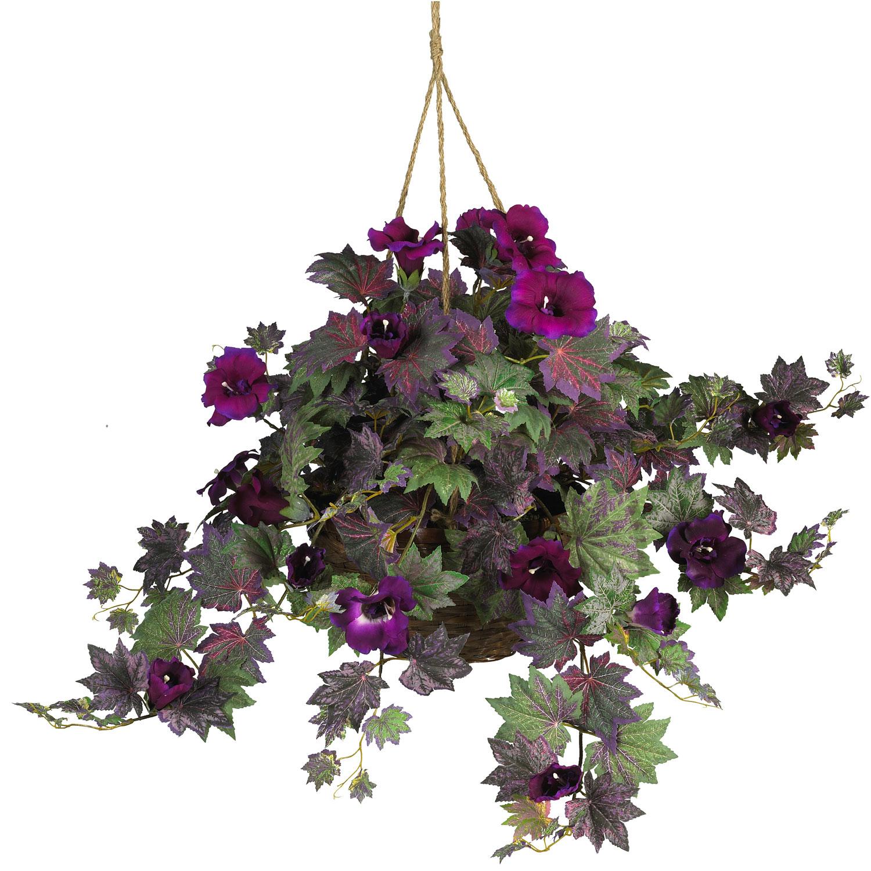 Morning Glory Silk Hanging Basket Silk Specialties