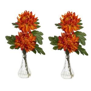 Mum w/Bud Vase Silk Flower Arrangement (Set of 2)