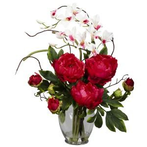 Peony & Orchid Silk Flower Arrangement