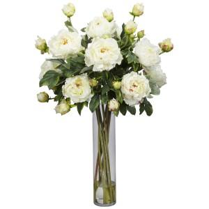Peony w/Cylinder Silk Flower Arrangement