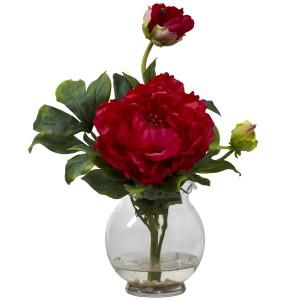 Peony w/Fluted Vase Silk Flower Arrangement