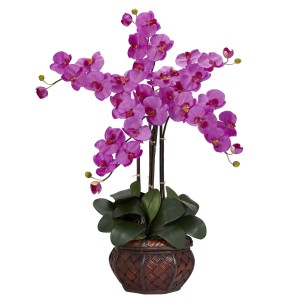 Phalaenopsis w/Decorative Vase Silk Flower Arrangement