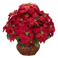Poinsettia w/Decorative Planter Silk arrangement