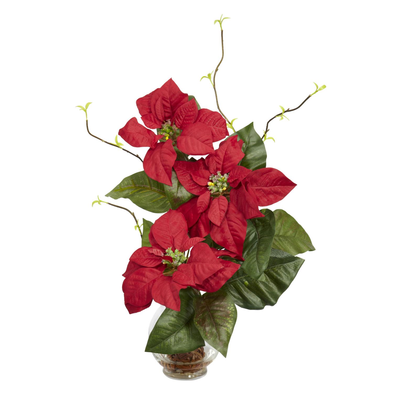 Christmas Flower Arrangements Artificial.Poinsettia W Fluted Vase Silk Flower Arrangement