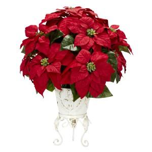 Poinsettia w/Metal Planter Silk Flower Arrangement