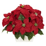 Poinsettia w/White Wash Planter Silk Arrangement