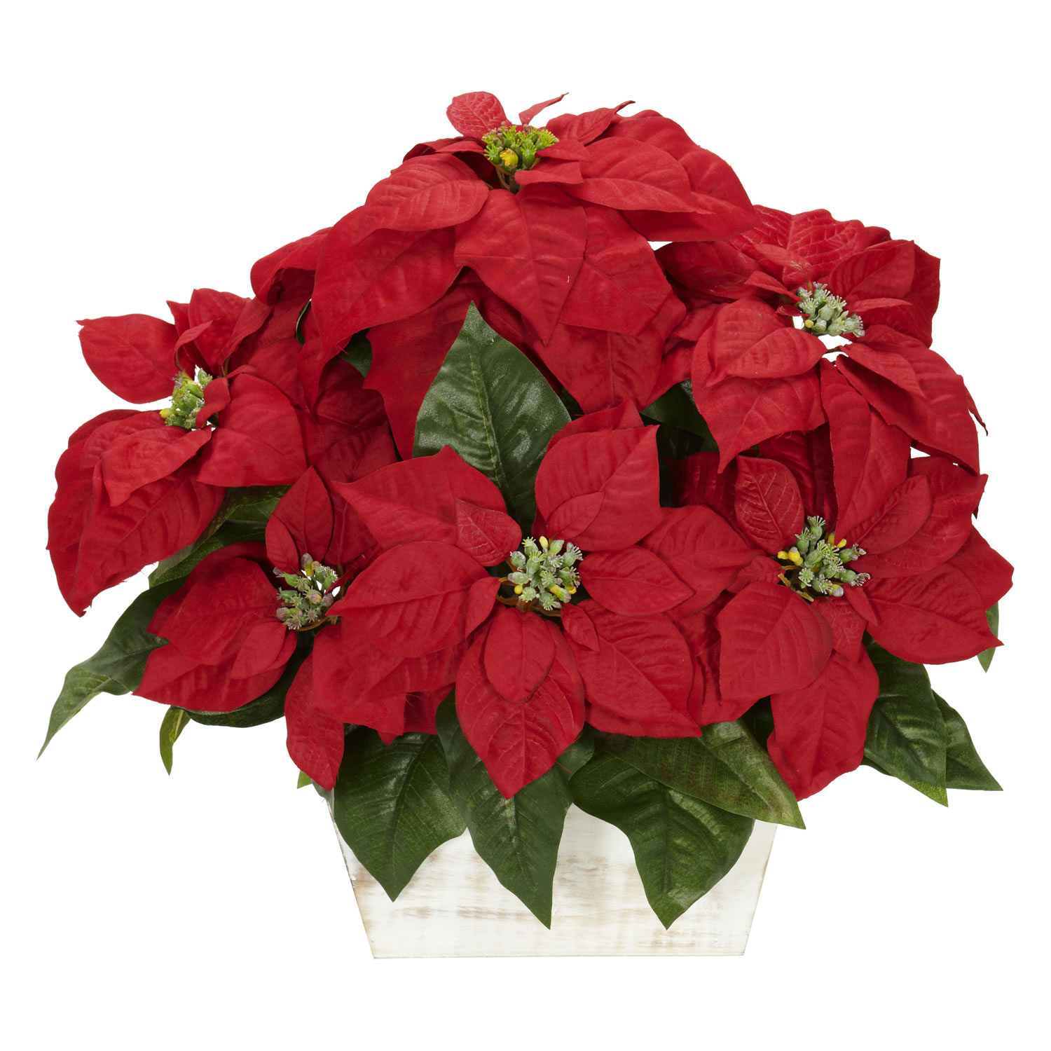 Poinsettia w white wash planter silk arrangement silk for Poinsettia arrangements