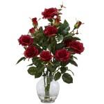 Rose Bush w/Vase Silk Flower Arrangement