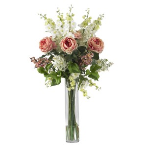 Rose, Delphinium and Lilac Silk Flower Arrangement