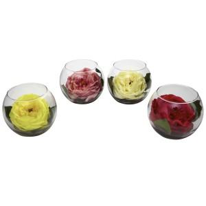 Rose w/Bubble Vase (Set of 4)