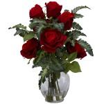 Rose w/Fern Silk Flower Arrangement