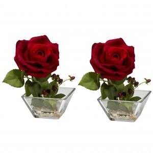 Rose w/Square Vase Silk Flower Arrangement (Set of 2)