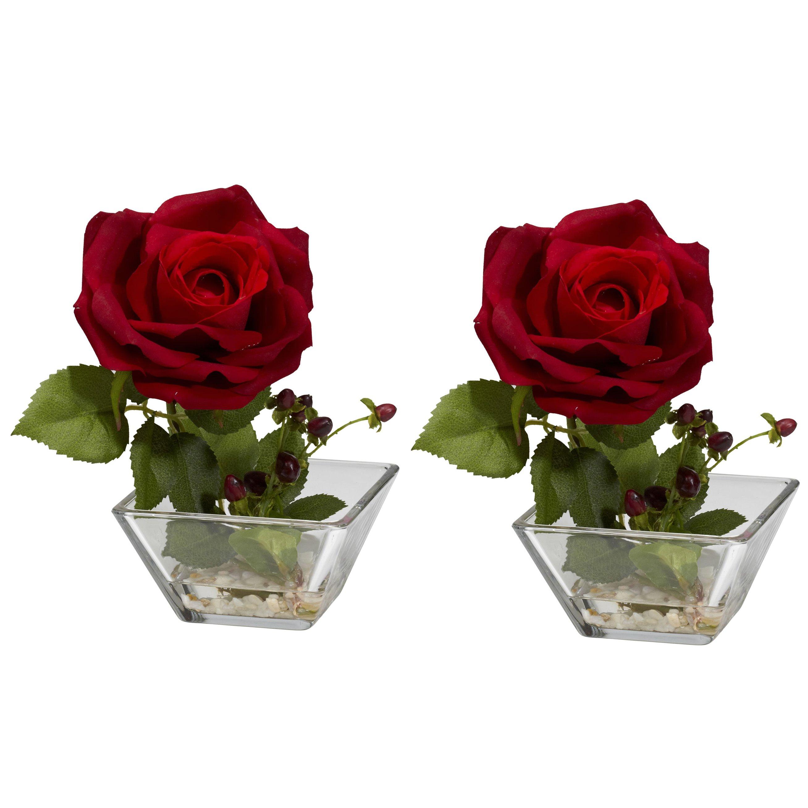 Rose W Square Vase Silk Flower Arrangement Set Of 2 Silk Specialties