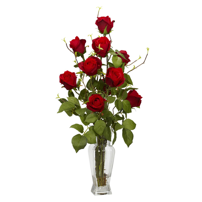 Rose w Vase Silk Flower Arrangement Silk Specialties