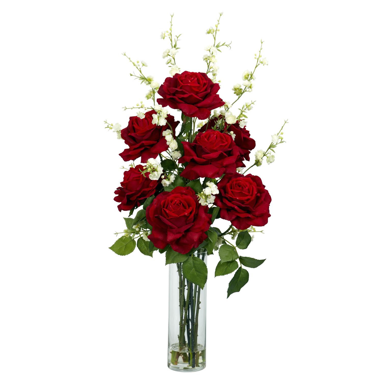 Roses wcherry blossoms silk flower arrangement silk specialties roses wcherry blossoms silk flower arrangement mightylinksfo Images