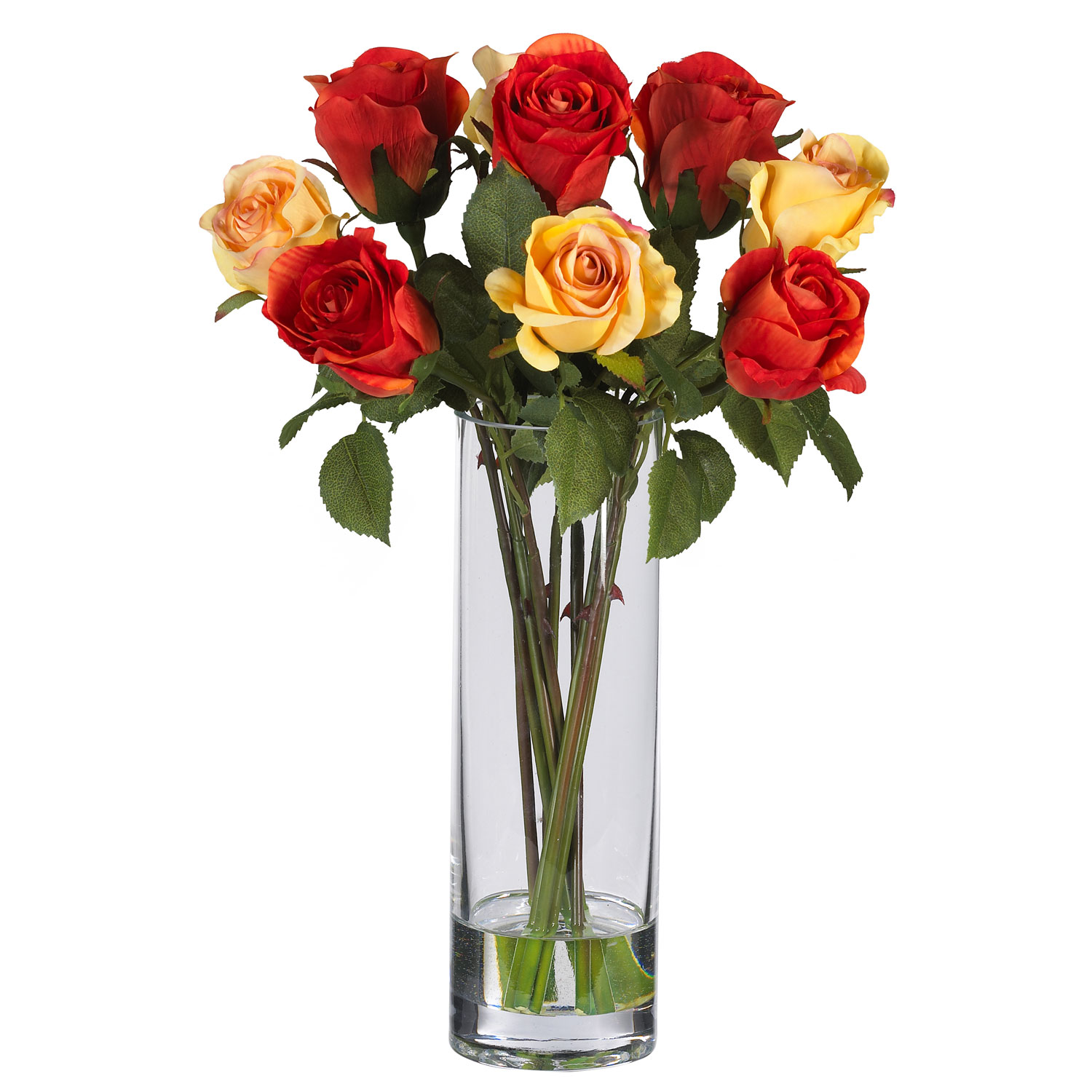 Roses wglass vase silk flower arrangement silk specialties roses wglass vase silk flower arrangement mightylinksfo