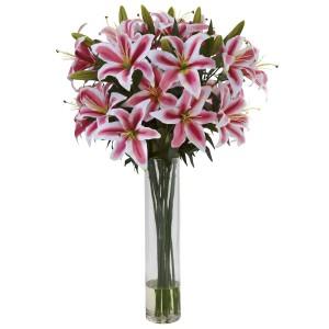Rubrum Lily w/Large Cylinder Arrangement