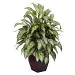 Silver Queen w/Decorative Planter Silk Plant