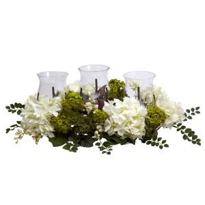 Snowball Hydrangea Triple Candelabrum Silk Flower Arrangement