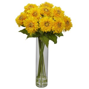 Sunflower w/Cylinder Silk Flower Arrangement