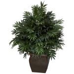 Triple Bamboo Palm w/Decorative Planter Silk Plant