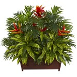 Tropical Garden w/Wood Planter