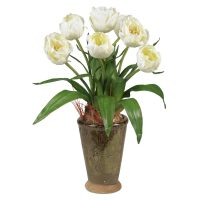 Tulips w/Ceramic Vase Silk Flower Arrangement