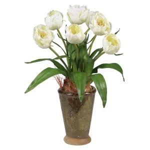 Tulips w/Ceramic Vase Silk Flower Arrangement
